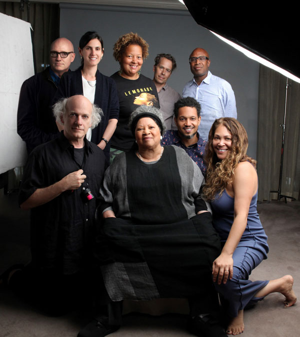 Production team behind the scenes of TONI MORRISON: THE PIECES I AM, a Magnolia Pictures release. Front row: Timothy Greenfield-Sanders, Toni Morrison, Sandra Guzman. Back row: Chad Thompson, Johanna Giebelhaus, Jackie Sanchez, Graham Willoughby, Leon Coltrane, Tommy Walker. Photo courtesy of Timothy Greenfield-Sanders.