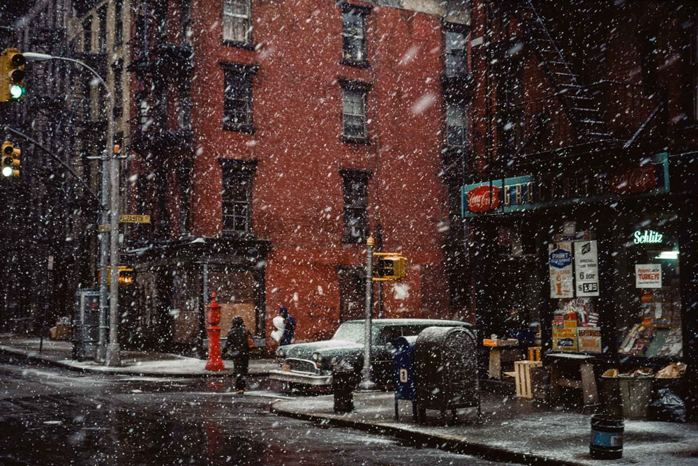 'First Snow, Elizabeth St.' photography by Jay Maisel