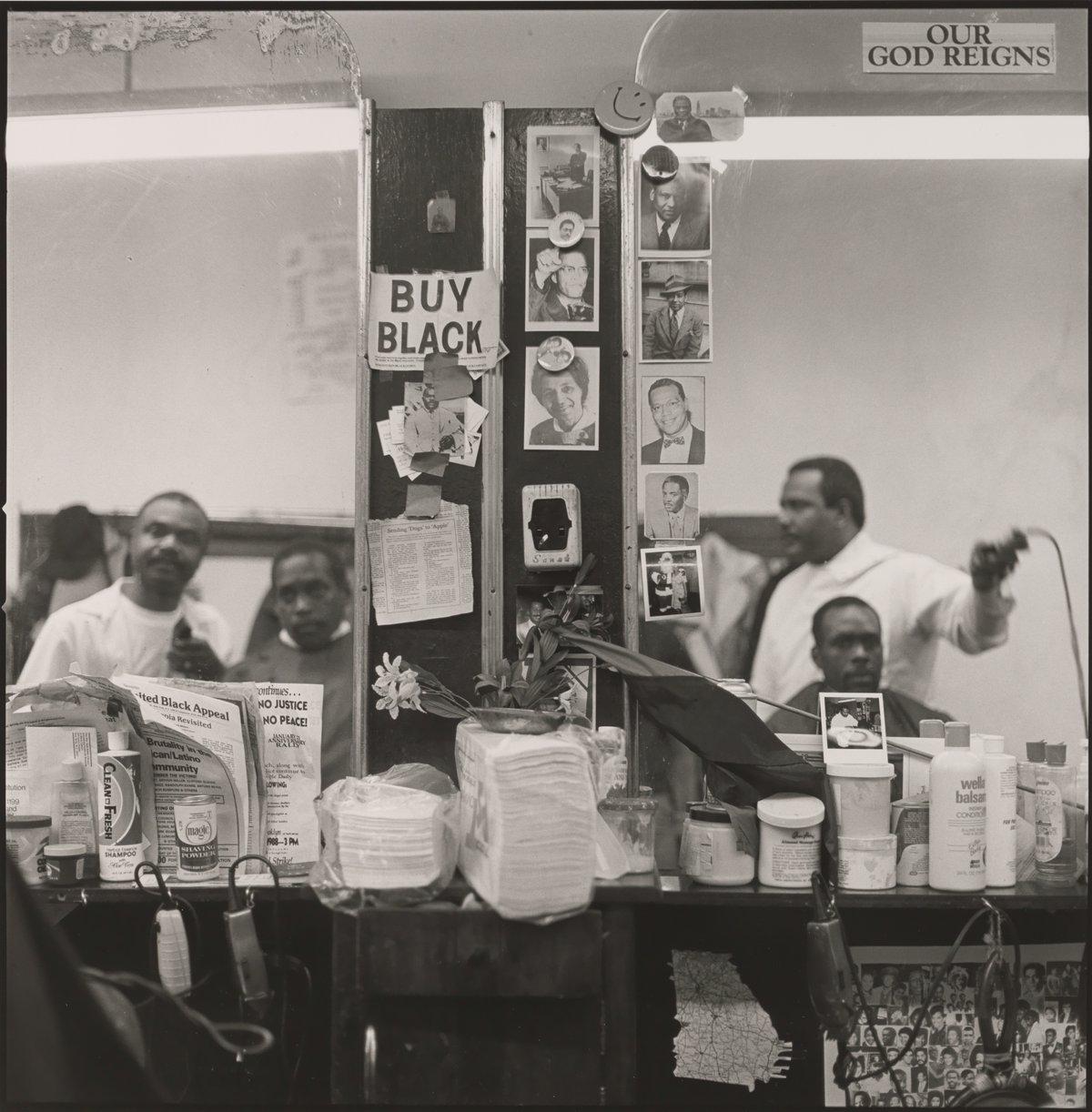 """© Jeffrey Henson Scales, Buy Black, 1986–1992 (From series: """"House's Barbershop, Harlem"""")"""
