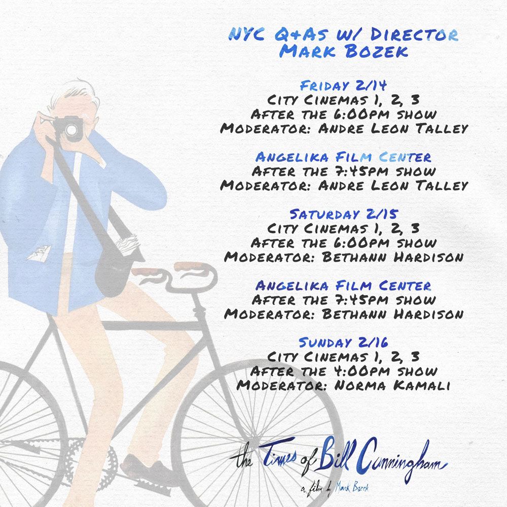 NYC FANS: Catch Q&As with THE TIMES OF BILL CUNNINGHAM director Mark Bozek
