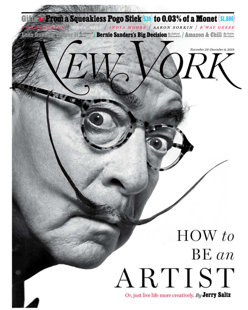 New York Magazine art critic Jerry Saltz as Salvador Dalí, based on a photograph by Philippe Halsman. Photo-Illustration: Joe Darrow for New York Magazine.