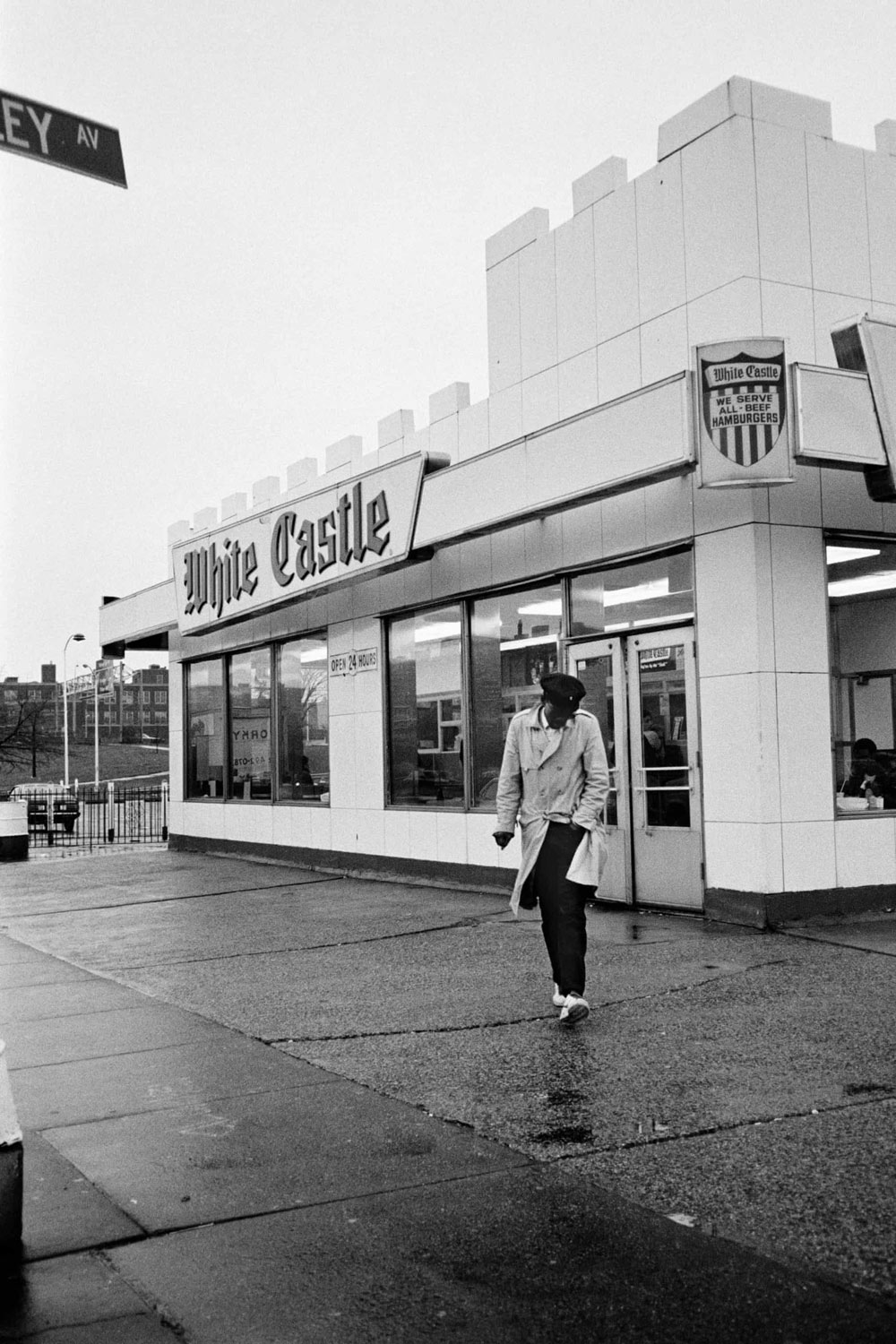 Fab 5 Freddy walking out of White Castle. Credit: © Sophie Bramly
