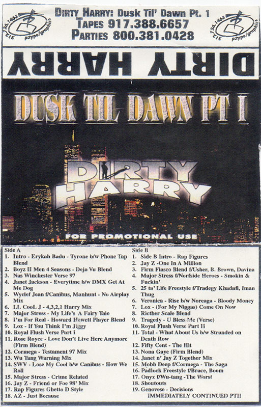 Dusk Til Dawn Pt 1, Cassette Mixtape Cover, Scanned from the Amon Focus Mixtape Collection
