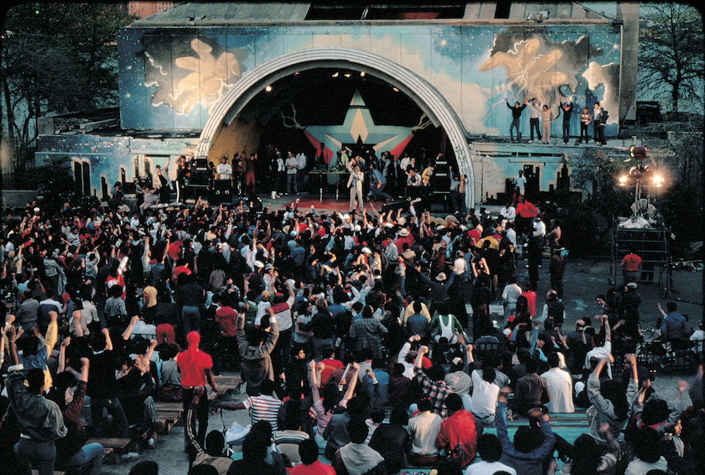 Busy Bee Starski rocks the Ampitheater, 1982. Photo © Martha Cooper.